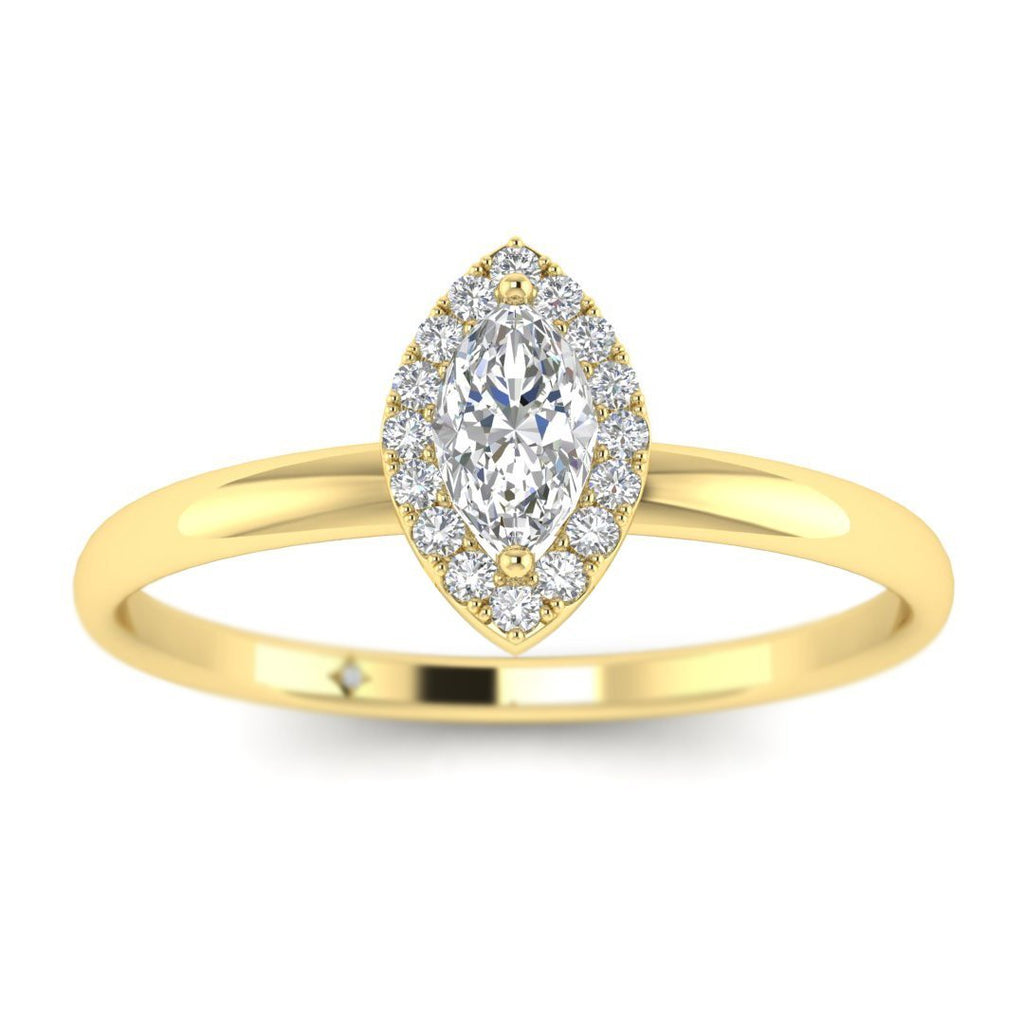 Marquise Diamond Halo Engagement Ring in Yellow Gold - Custom Made