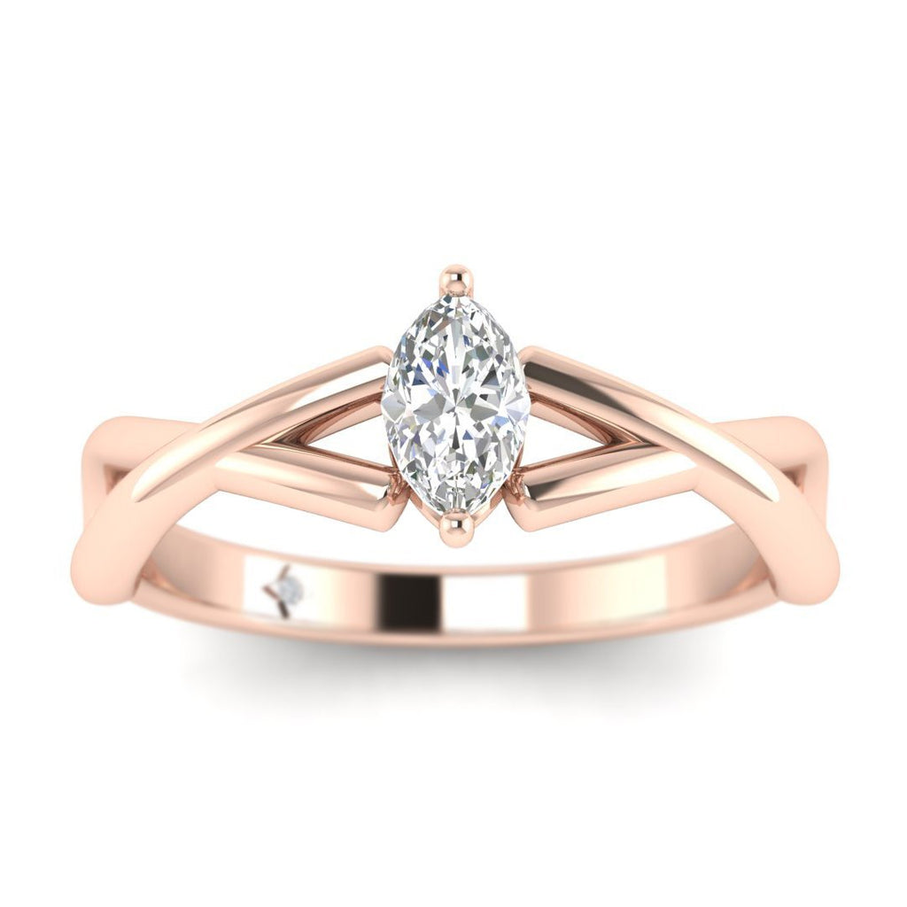 Marquise Diamond Infinity Twist Solitaire Engagement Ring in Rose Gold - Custom Made