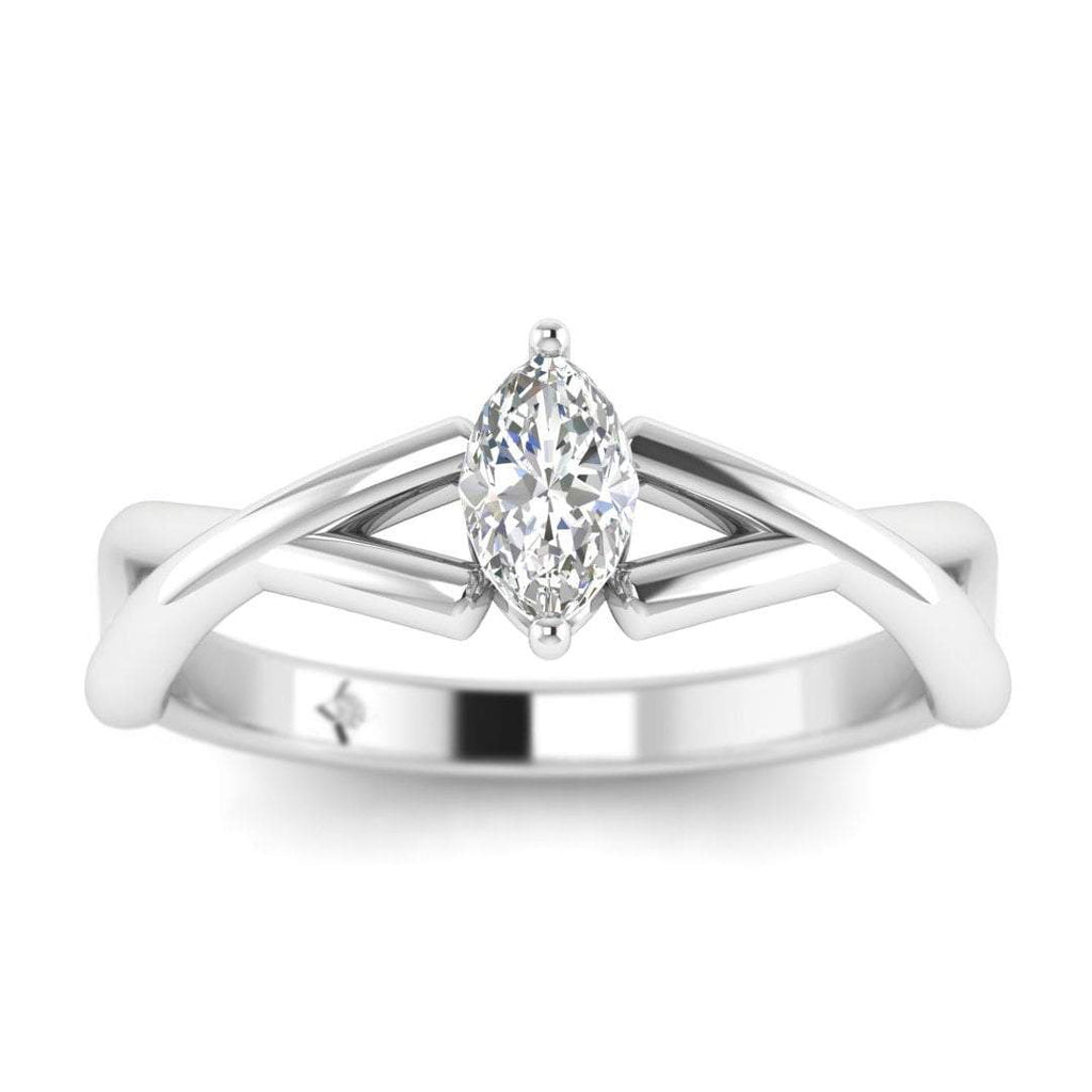 Marquise Diamond Infinity Twist Solitaire Engagement Ring in White Gold - Custom Made