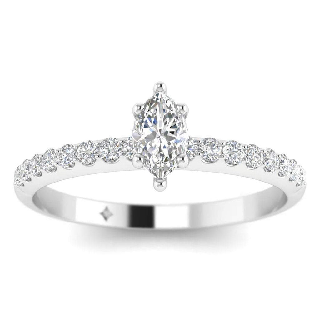 EN-WA-14-NAT-D-SI1-EX Marquise Diamond Pave Engagement Ring in 14K White Gold - 0.50 carat