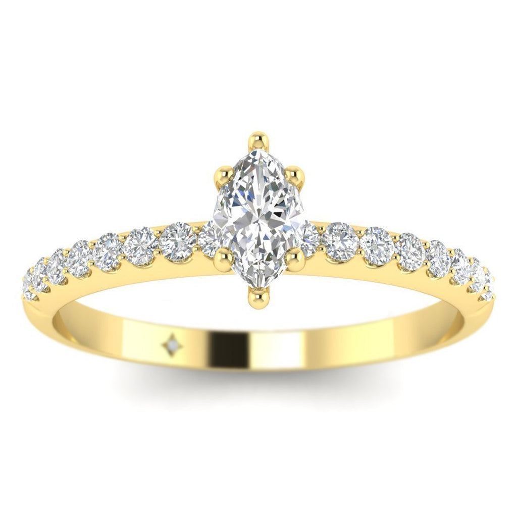 EN-WA-14-NAT-D-SI1-EX Marquise Diamond Pave Engagement Ring in 14K Yellow Gold - 0.20 carat