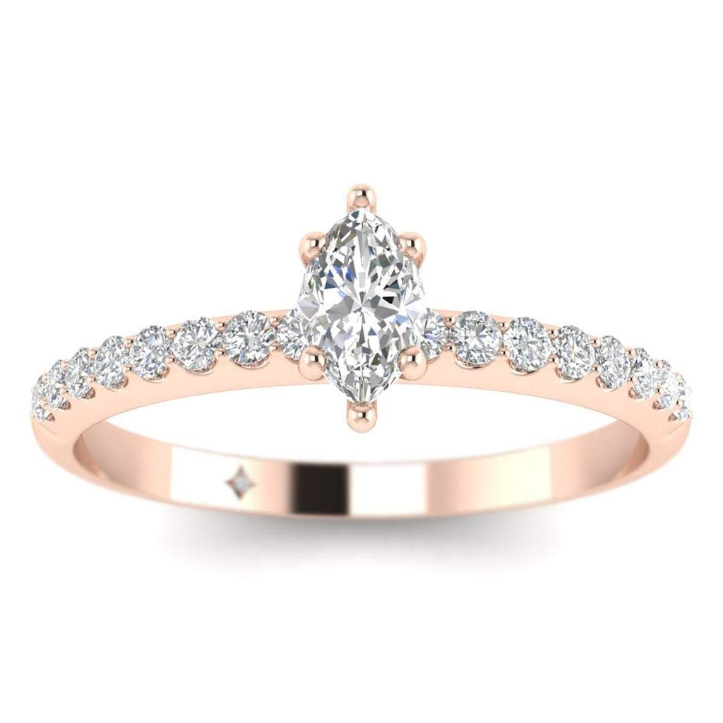 Marquise Diamond Pave Engagement Ring in Rose Gold - Custom Made