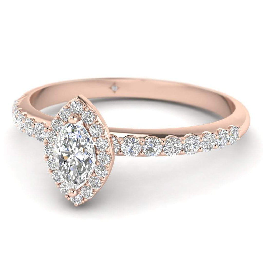 Marquise Diamond Pave Halo Engagement Ring in Rose Gold - Custom Made
