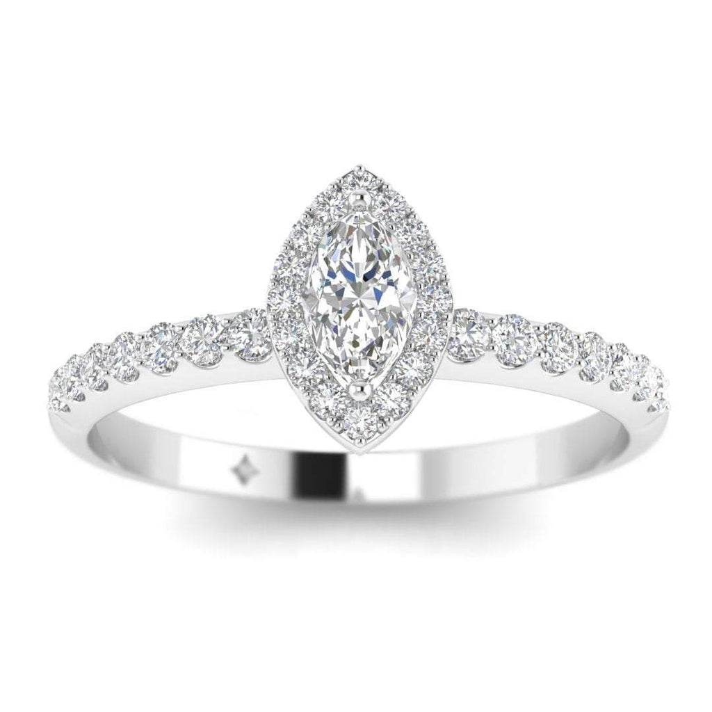 Marquise Diamond Pave Halo Engagement Ring in White Gold - Custom Made