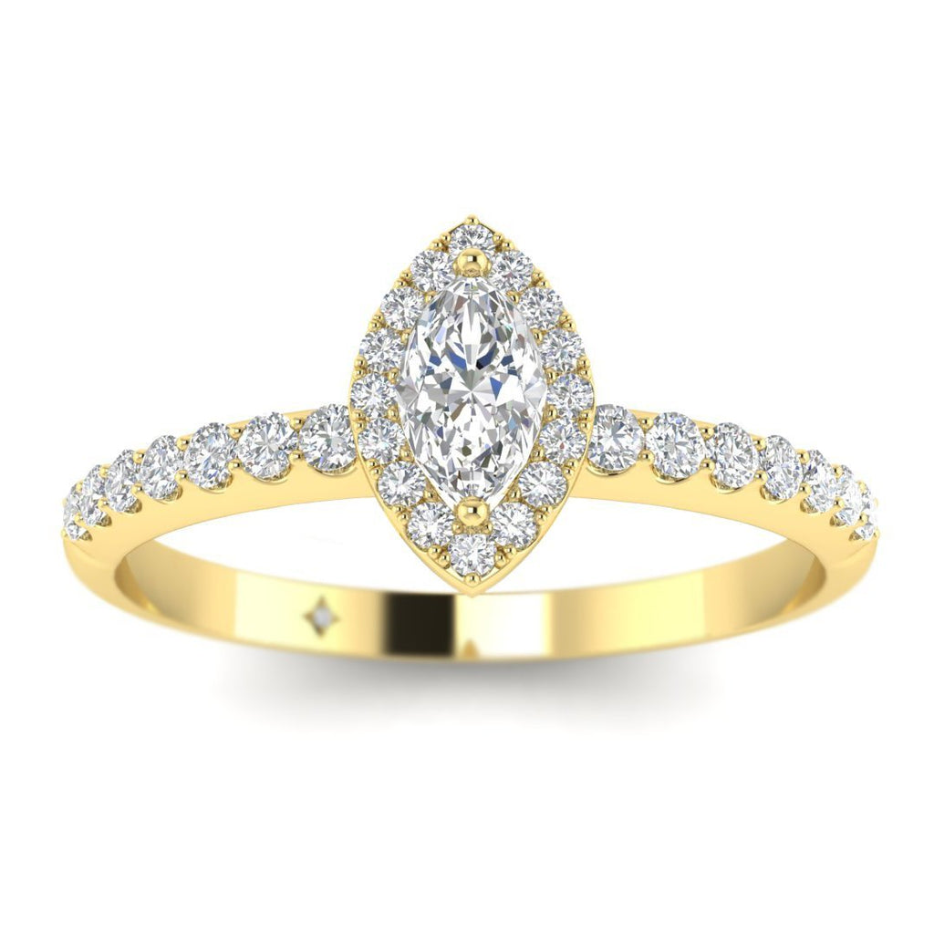 Marquise Diamond Pave Halo Engagement Ring in Yellow Gold - Custom Made