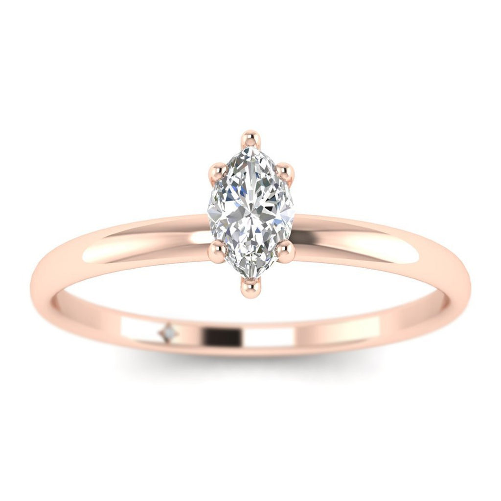Marquise Diamond Solitaire Engagement Ring in Rose Gold - Custom Made