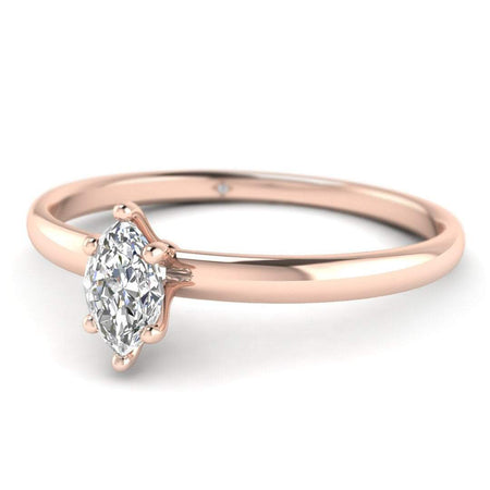 EN Marquise Diamond Solitaire Engagement Ring in Rose Gold
