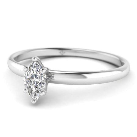 EN Marquise Diamond Solitaire Engagement Ring in White Gold