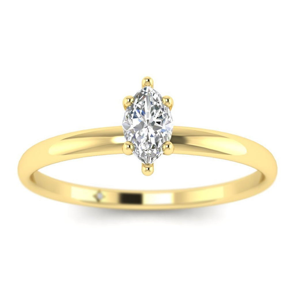 Marquise Diamond Solitaire Engagement Ring in Yellow Gold - Custom Made
