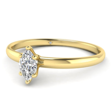 EN Marquise Diamond Solitaire Engagement Ring in Yellow Gold