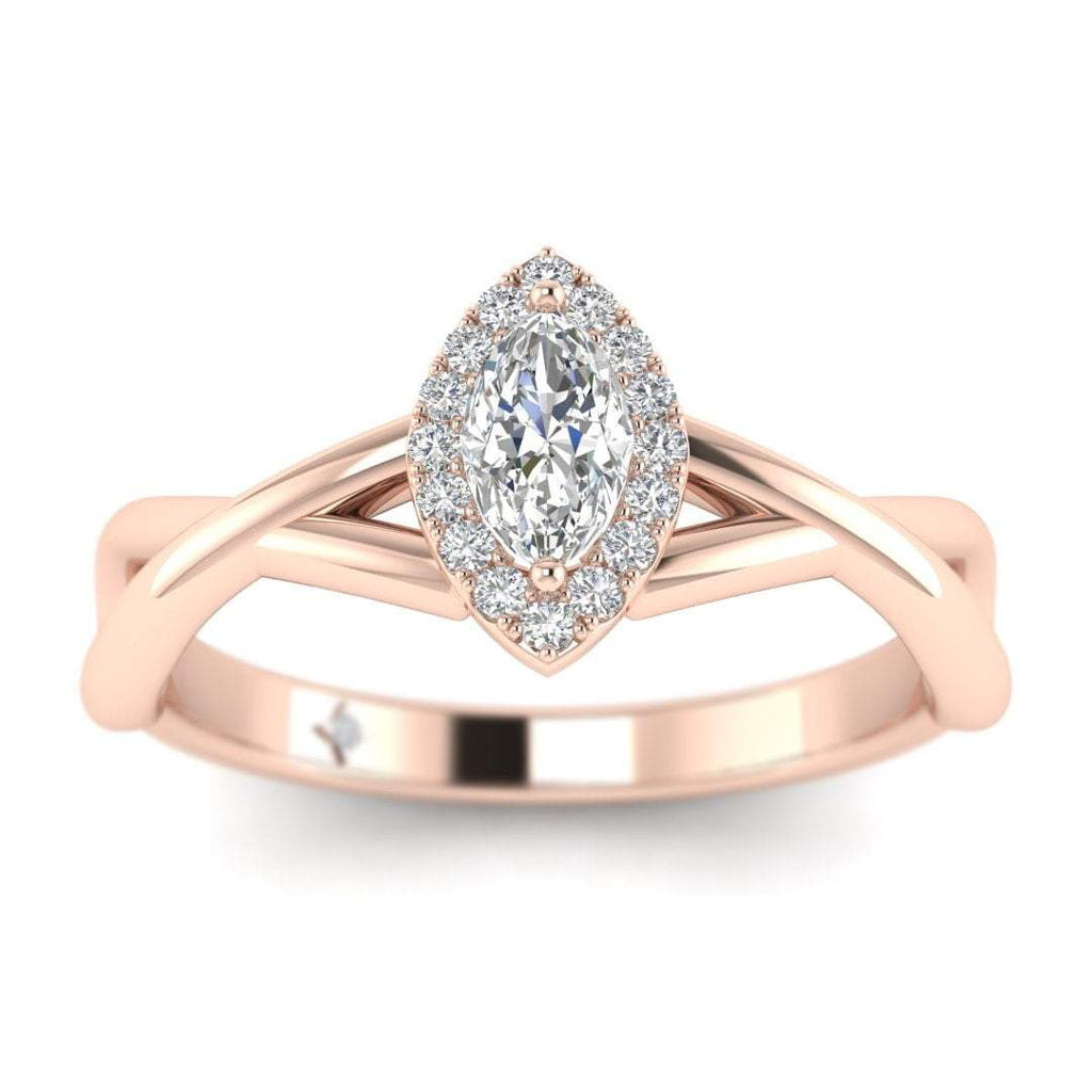 Marquise Diamond Twist Halo Engagement Ring in Rose Gold - Custom Made