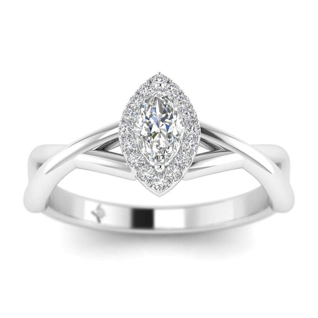 Marquise Diamond Twist Halo Engagement Ring in White Gold - Custom Made
