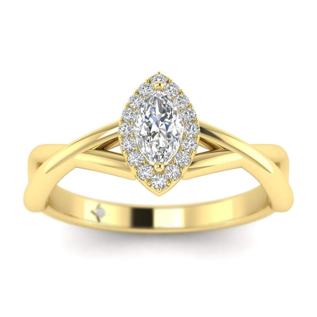 Marquise Diamond Twist Halo Engagement Ring in Yellow Gold - Custom Made