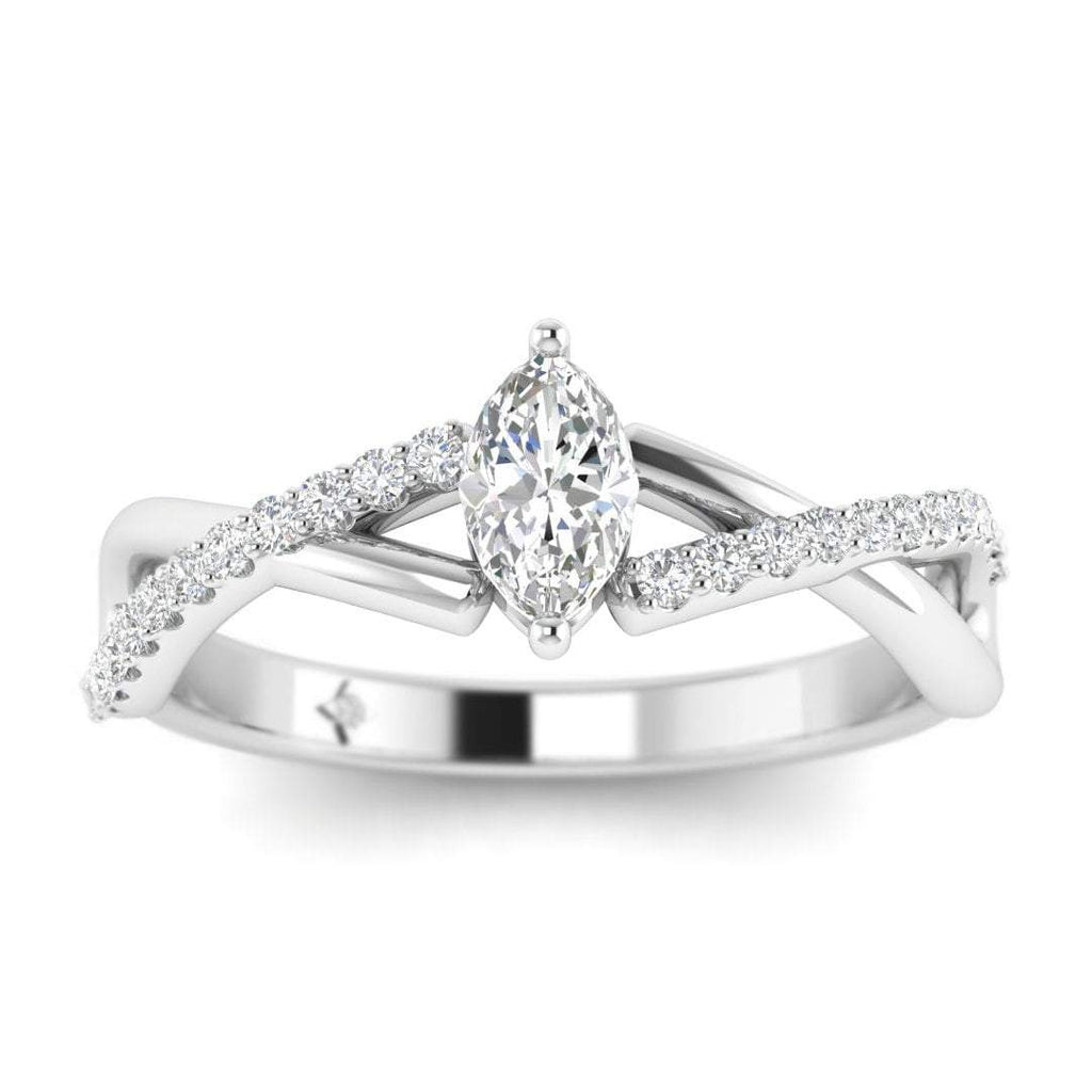 Marquise Diamond Twist Pave Engagement Ring in White Gold - Custom Made