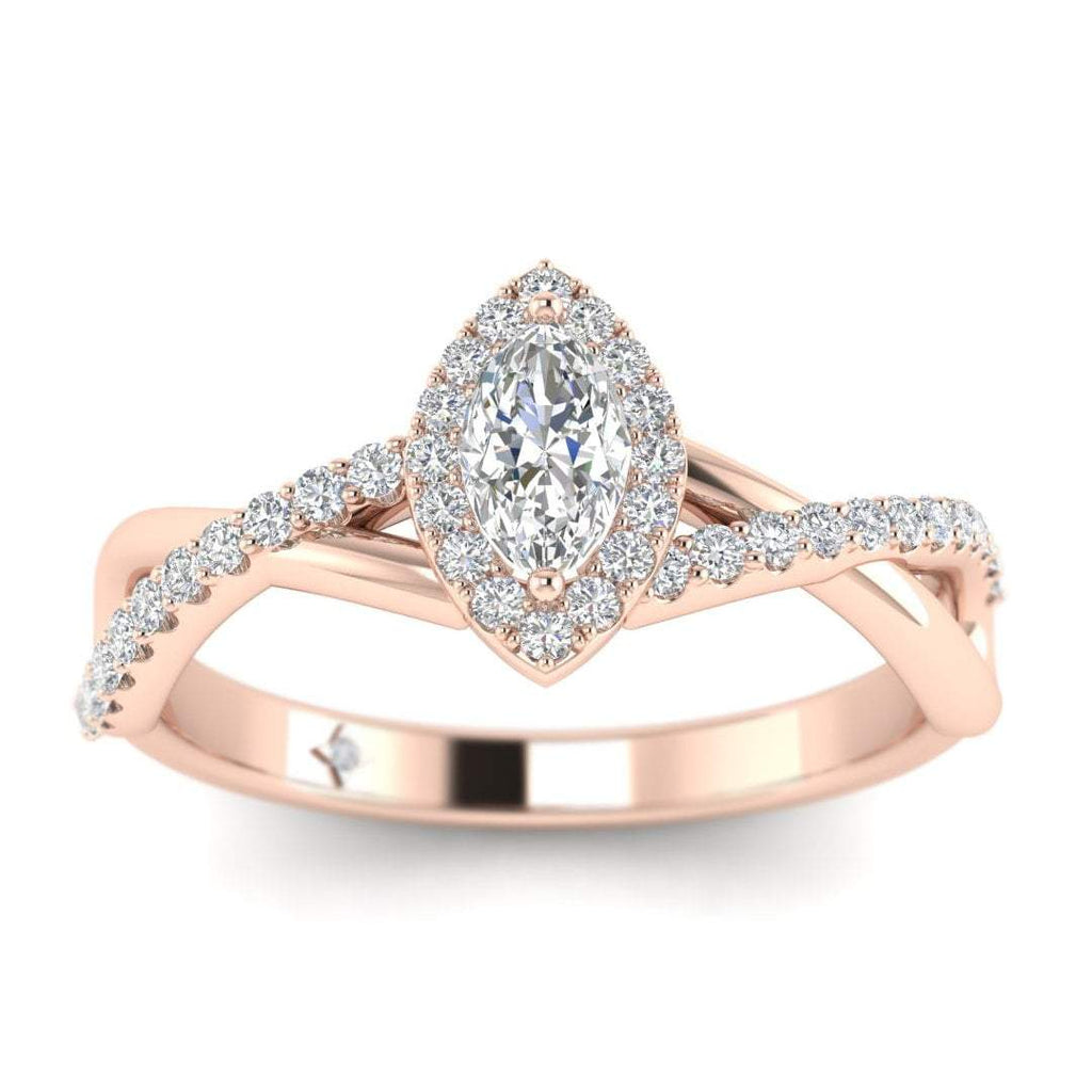 Marquise Diamond Twist Pave Halo Engagement Ring in Rose Gold - Custom Made