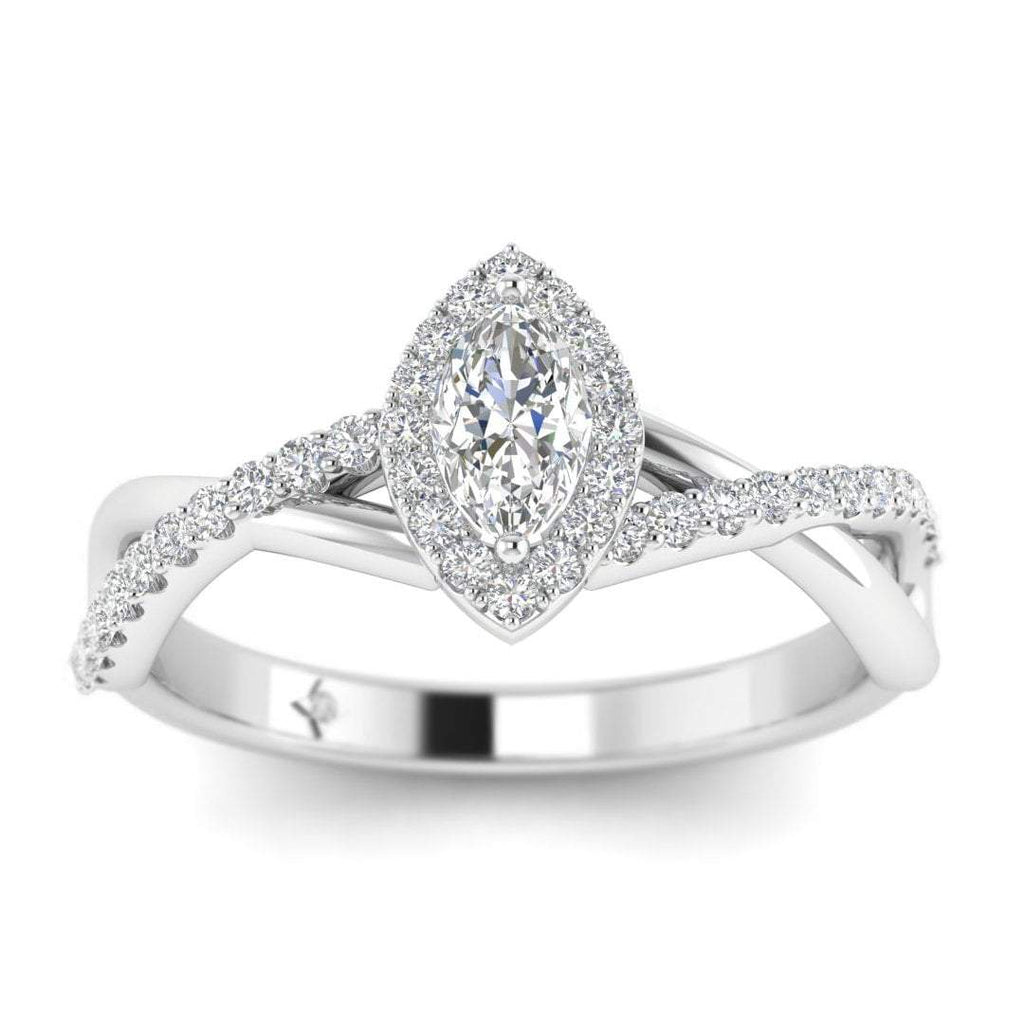 Marquise Diamond Twist Pave Halo Engagement Ring in White Gold - Custom Made
