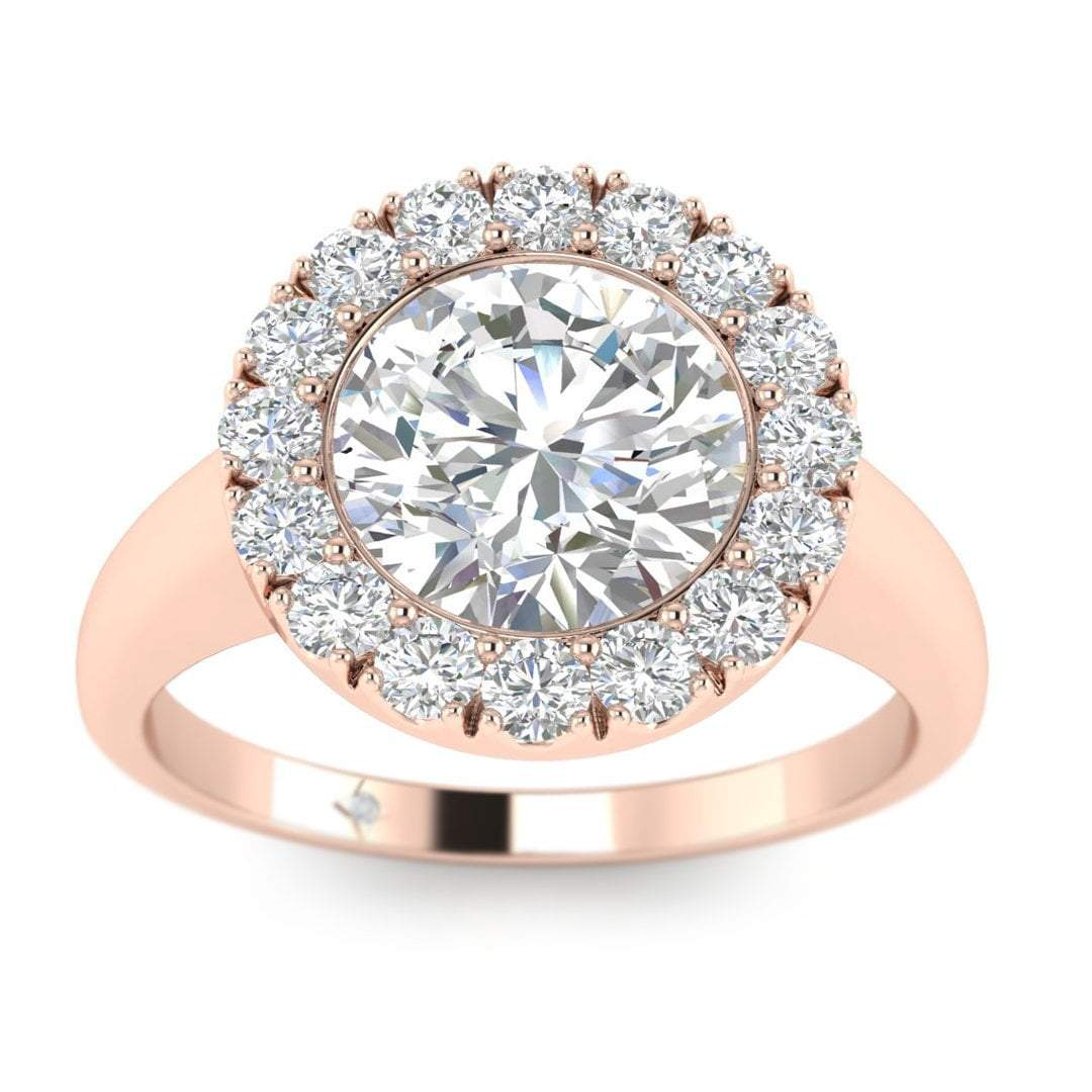 Round Moissanite 0.90 cts Halo Engagement Ring 14k Rose Gold Over Silver