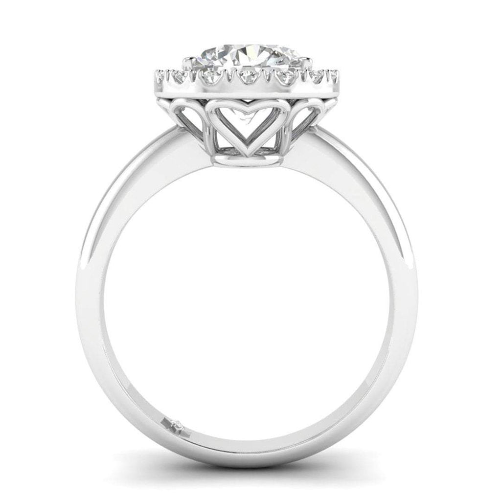Moissanite Engagement Ring - White Gold Bezel Halo 1.00 carat D/VVS1 Charles & Colvard - Custom Made