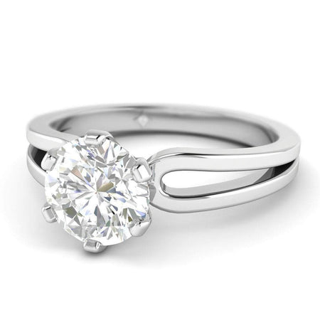 Sale Moissanite Engagement Ring - White Gold Split Shank 2.00 carat D/VVS1 Colorless