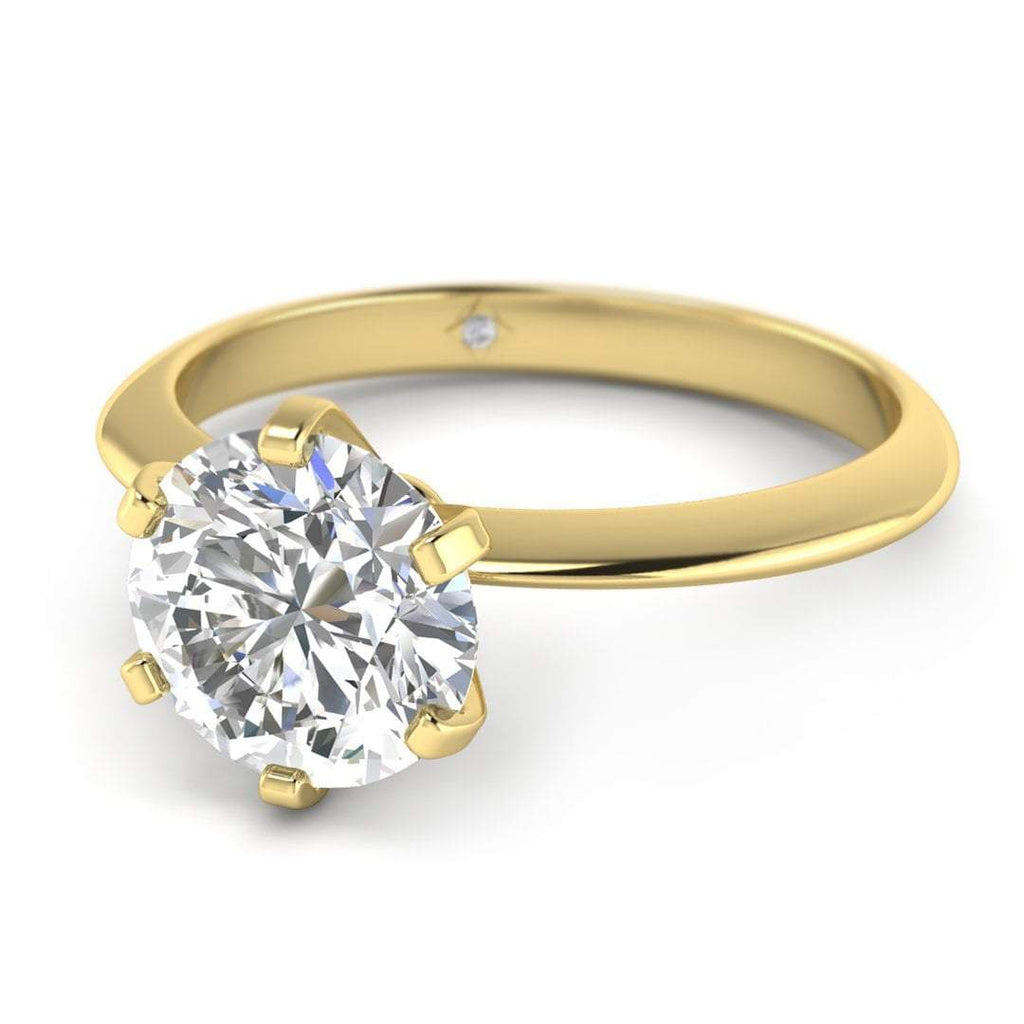 Moissanite Engagement Ring - Yellow Gold 6-prong 1.75 carat D/VVS1 Colorless - Custom Made