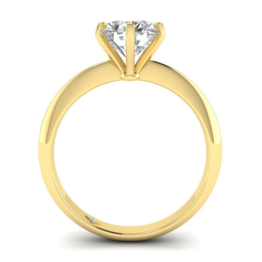 Moissanite Engagement Ring - Yellow Gold 6-prong 2.00 carat D/VVS1 Charles & Colvard - Custom Made