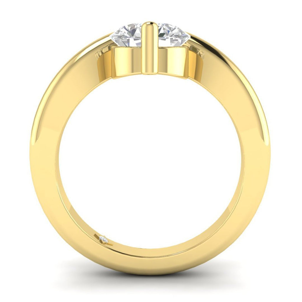 Moissanite Engagement Ring - Yellow Gold Floating 0.50 carat D/VVS1 Charles & Colvard - Custom Made