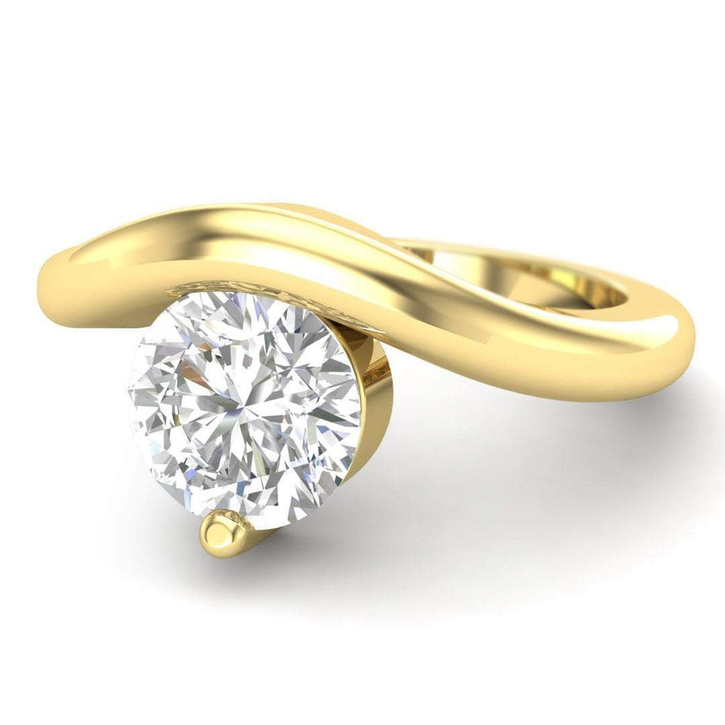 Moissanite Engagement Ring - Yellow Gold Floating 0.90 carat D/VVS1 Forever One - Custom Made