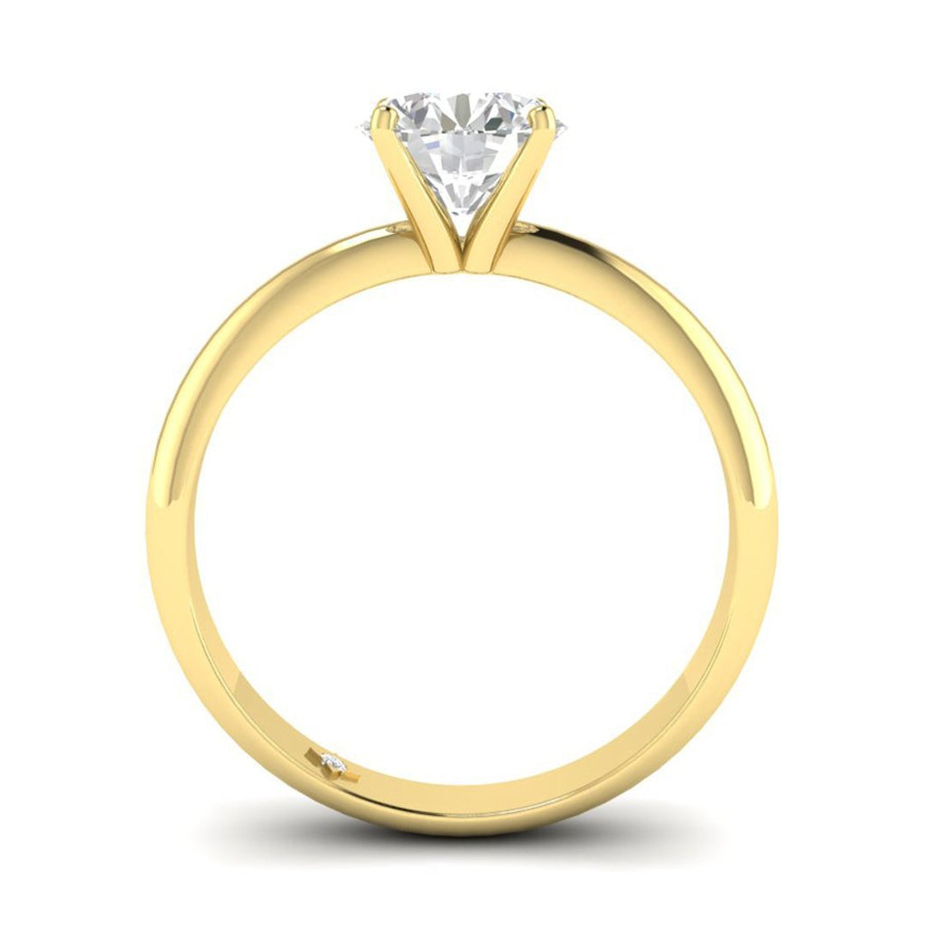Moissanite Engagement Ring - Yellow Gold Tapered 0.65 carat D/VVS1 Forever One - Custom Made