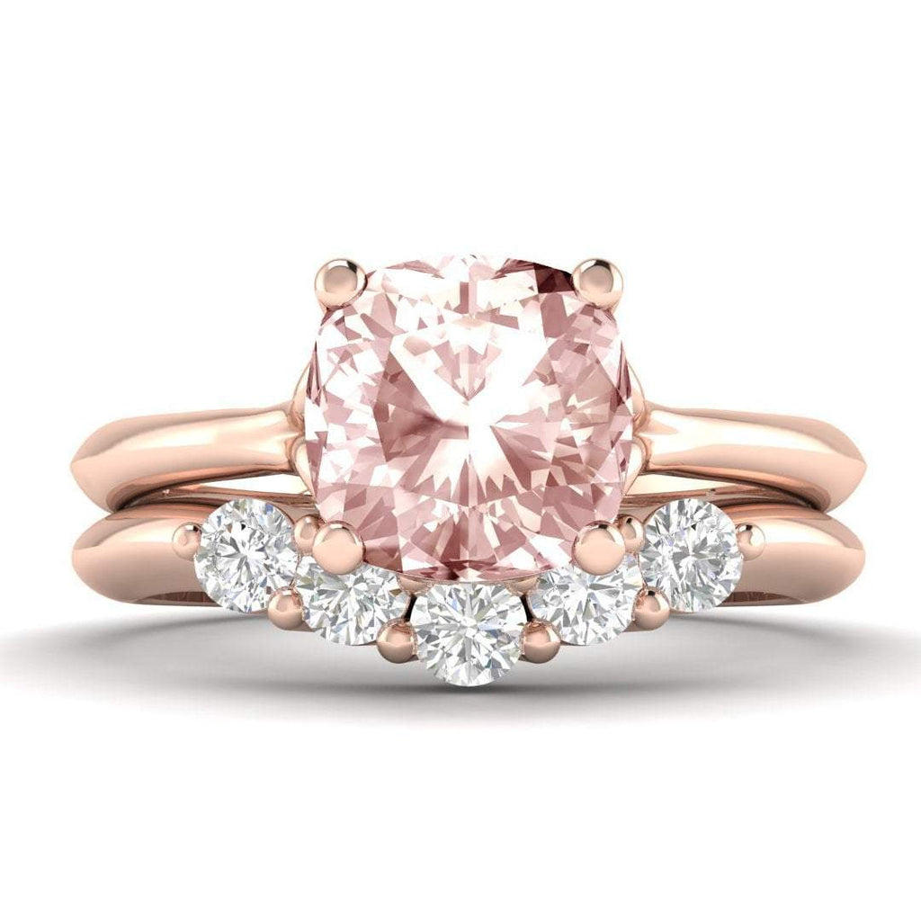 EN-SO-14-MO Morganite Engagement Ring Bridal Set - Rose Gold 1.00 carat Peachy Pink
