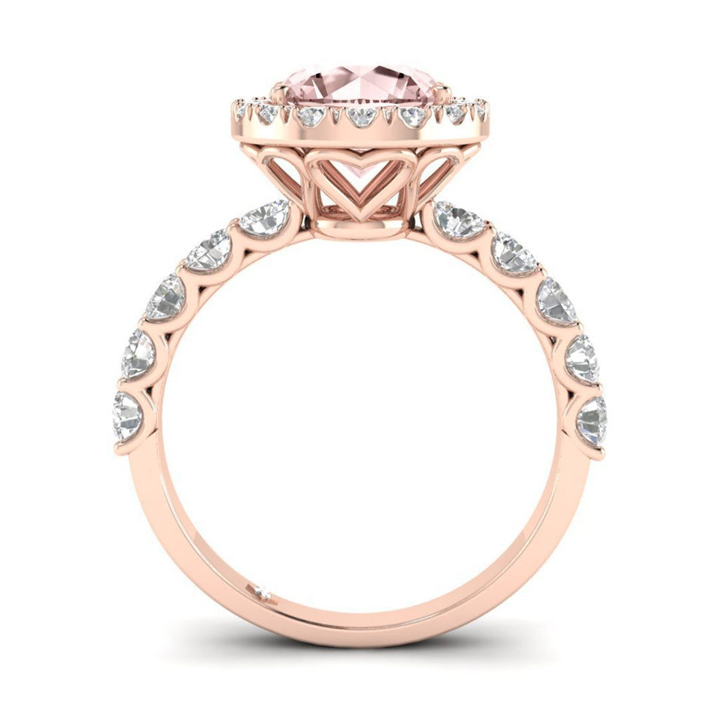 Morganite Engagement Ring - Rose Gold Halo 2.00 carat Peachy Pink - Custom Made
