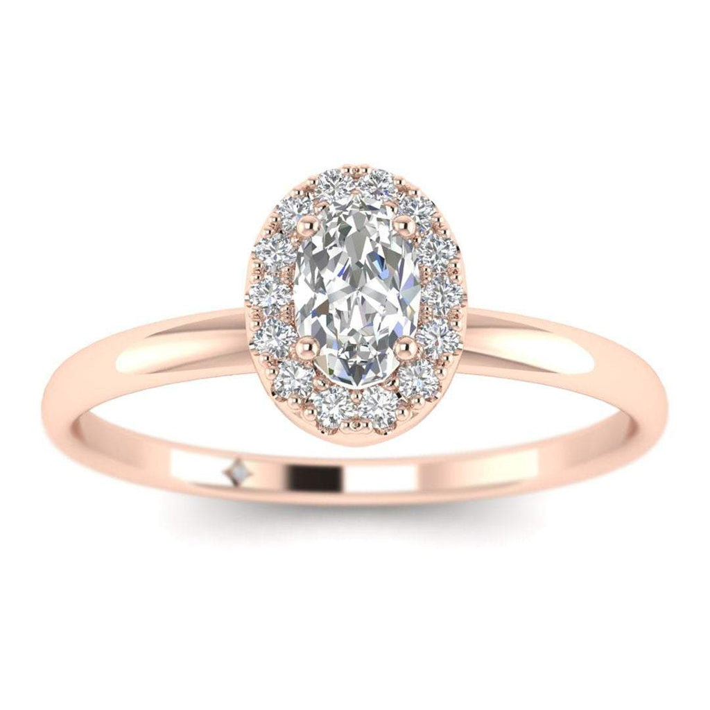 Oval Diamond Halo Engagement Ring in Rose Gold - Custom Made