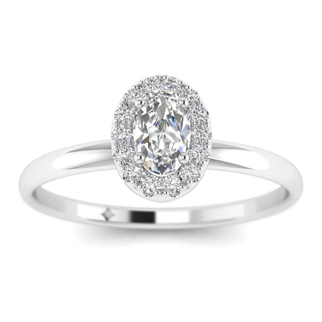 Oval Diamond Halo Engagement Ring in White Gold - Custom Made