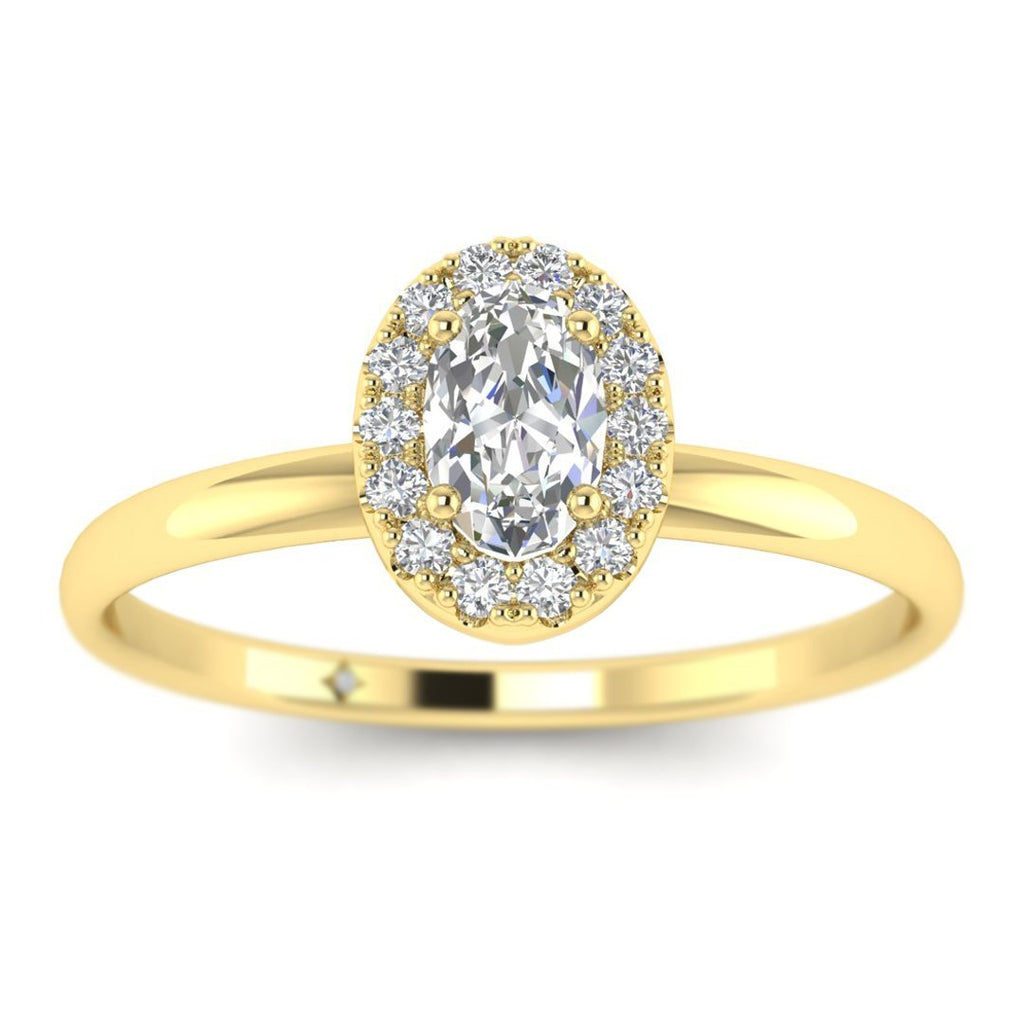 Oval Diamond Halo Engagement Ring in Yellow Gold - Custom Made