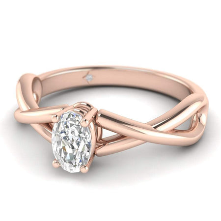 EN Oval Diamond Infinity Twist Solitaire Engagement Ring in Rose Gold