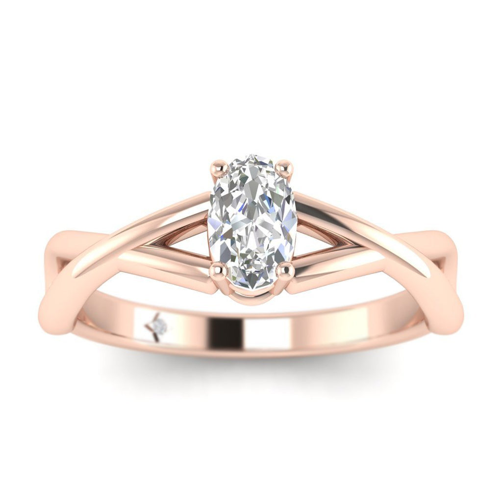 Oval Diamond Infinity Twist Solitaire Engagement Ring in Rose Gold - Custom Made