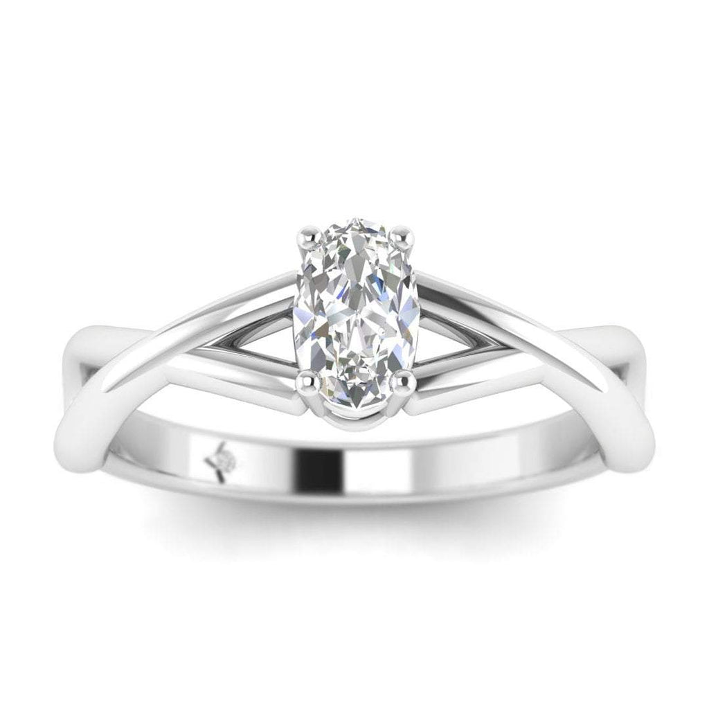 Oval Diamond Infinity Twist Solitaire Engagement Ring in White Gold - Custom Made