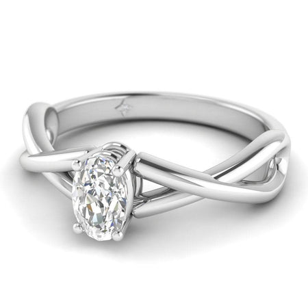 EN Oval Diamond Infinity Twist Solitaire Engagement Ring in White Gold