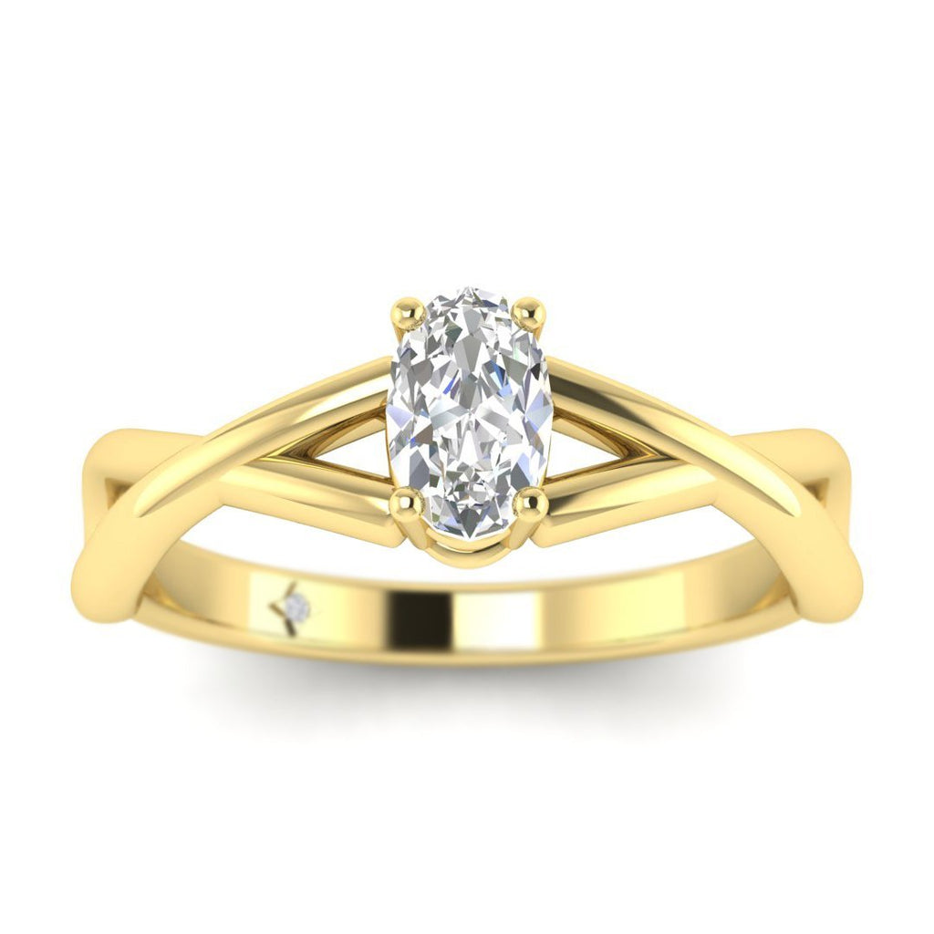 Oval Diamond Infinity Twist Solitaire Engagement Ring in Yellow Gold - Custom Made