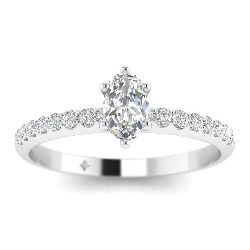 EN-WA-14-NAT-D-SI1-EX Oval Diamond Pave Engagement Ring in 14K White Gold - 0.15 carat