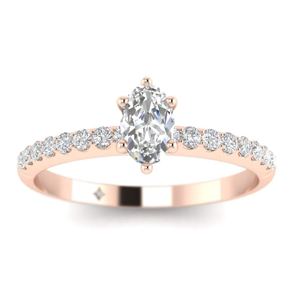 Oval Diamond Pave Engagement Ring in Rose Gold - Custom Made