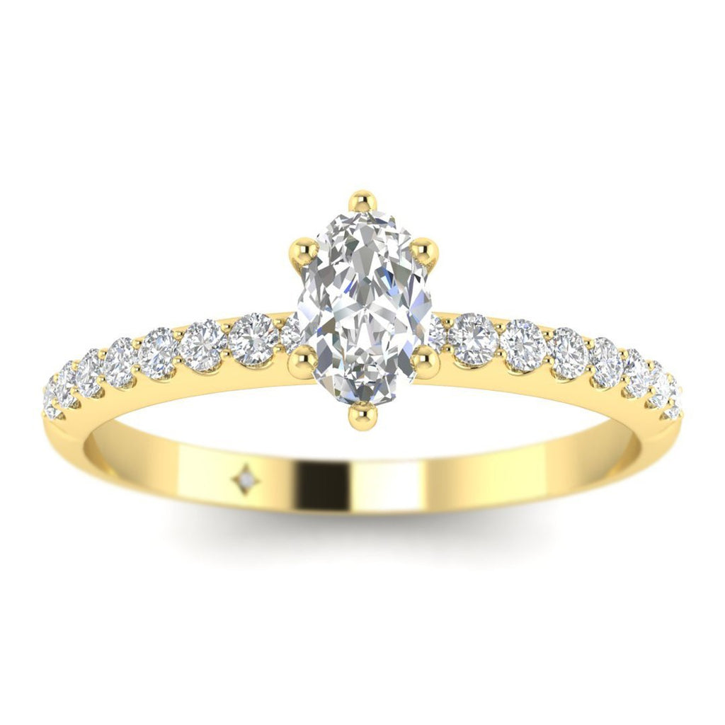 Oval Diamond Pave Engagement Ring in Yellow Gold - Custom Made