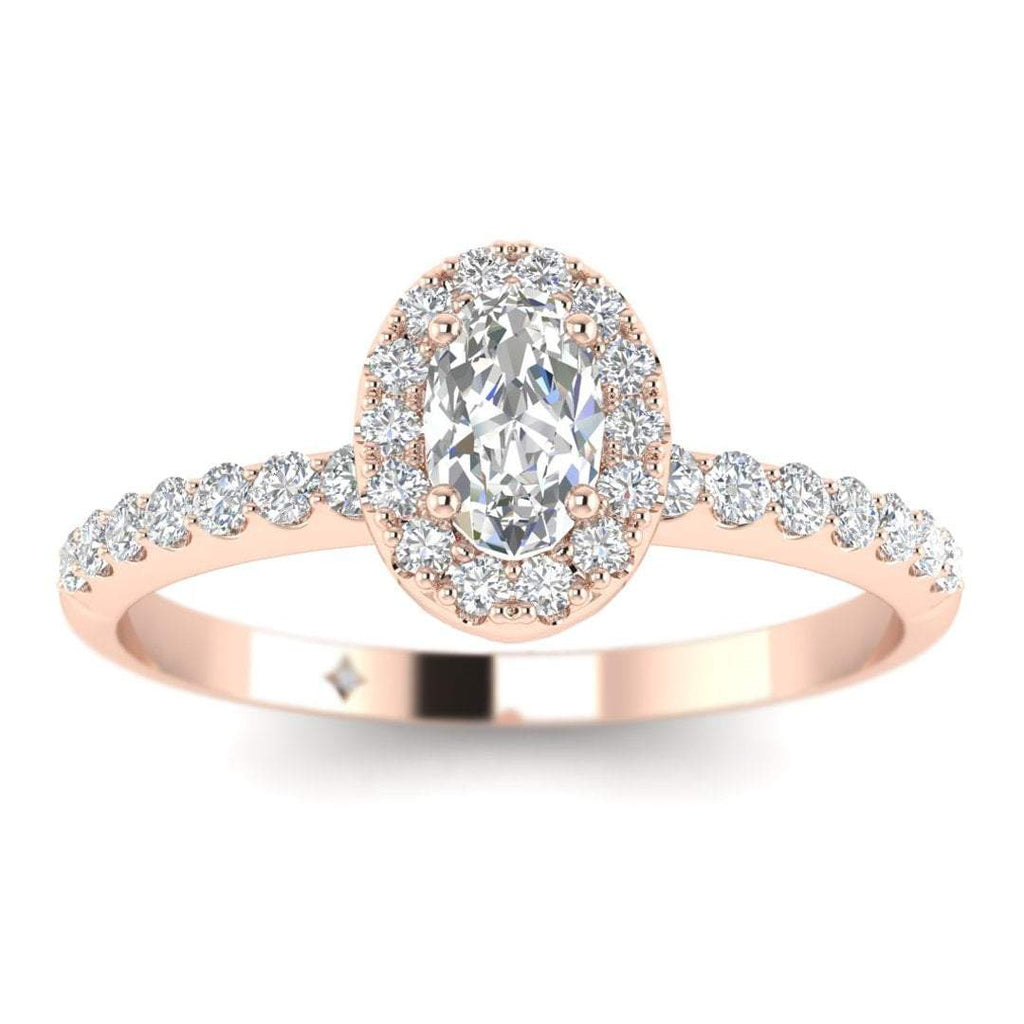 Oval Diamond Pave Halo Engagement Ring in Rose Gold - Custom Made