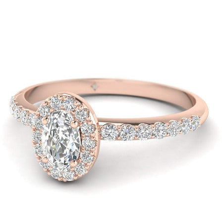 EN Oval Diamond Pave Halo Engagement Ring in Rose Gold