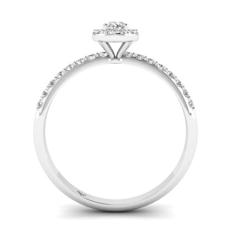 EN Oval Diamond Pave Halo Engagement Ring in White Gold