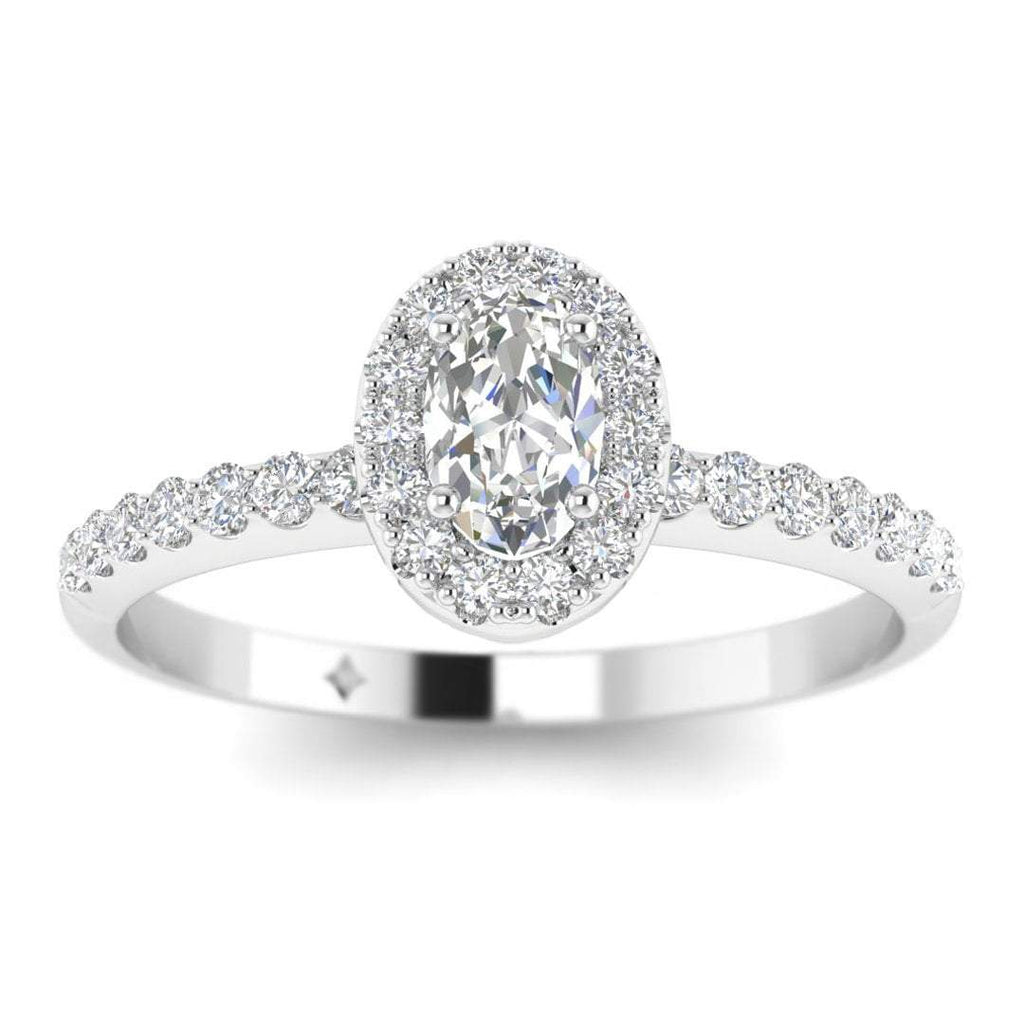 Oval Diamond Pave Halo Engagement Ring in White Gold - Custom Made