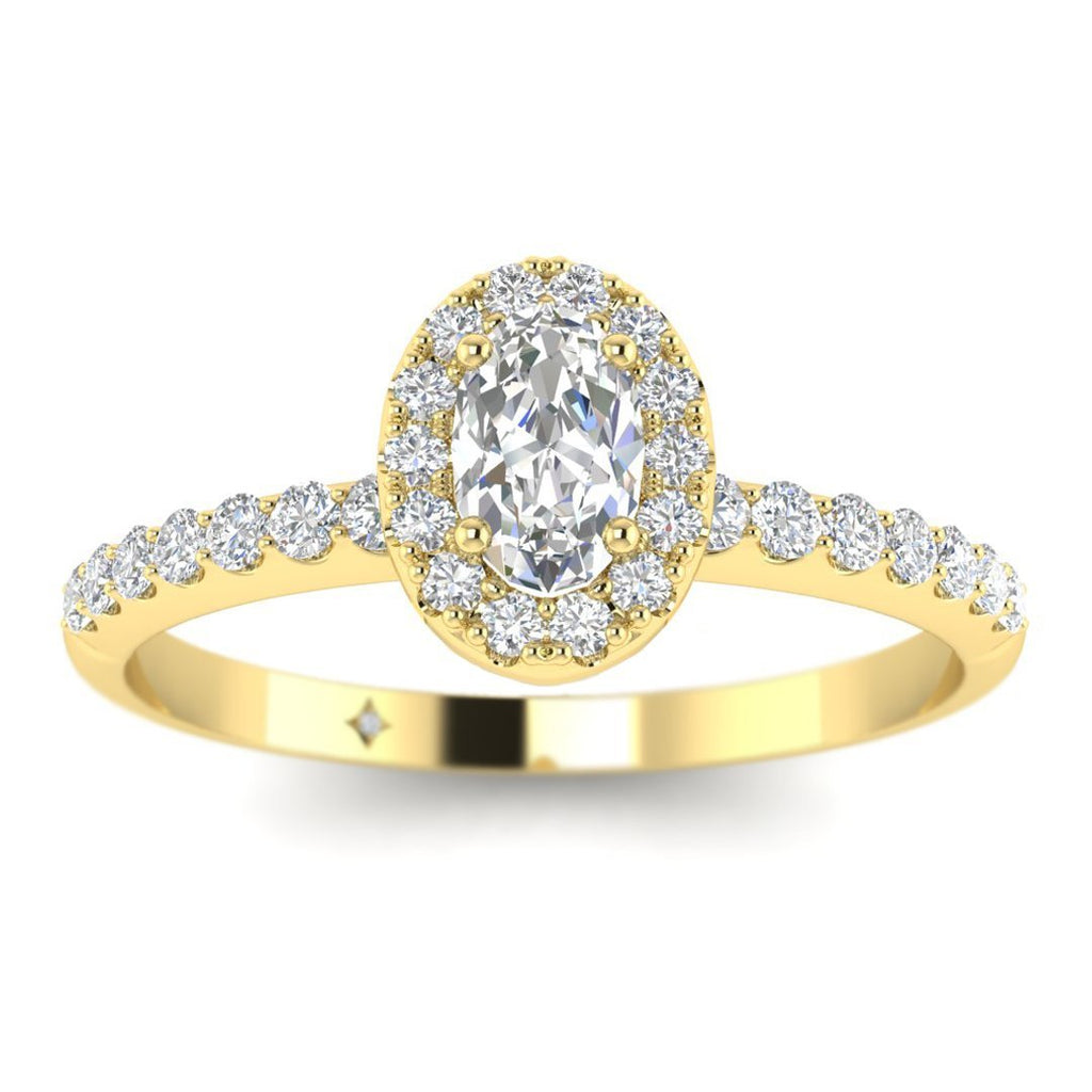 Oval Diamond Pave Halo Engagement Ring in Yellow Gold - Custom Made