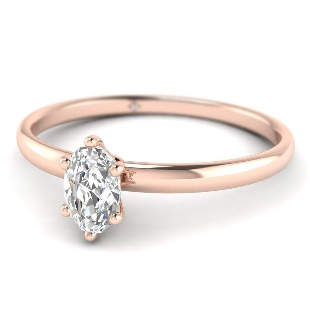 Oval Diamond Solitaire Engagement Ring in Rose Gold - Custom Made