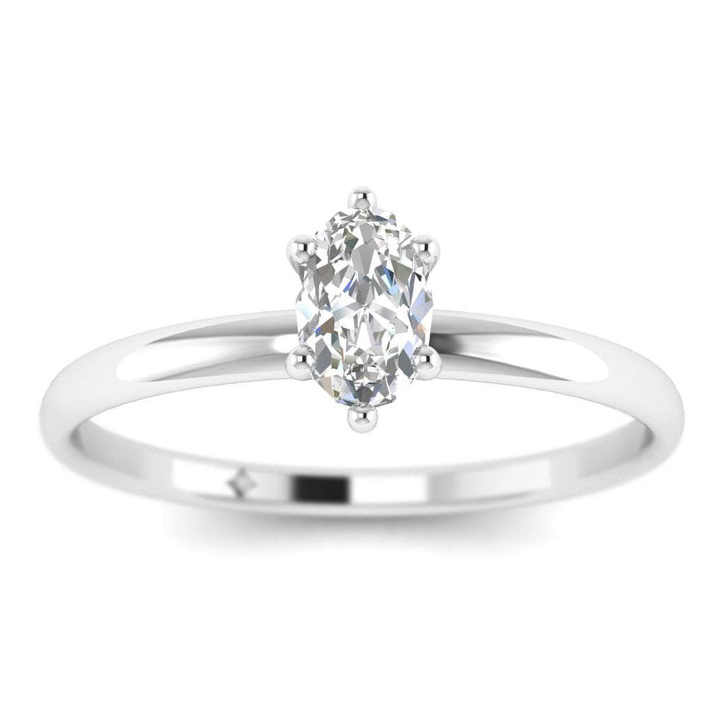 Oval Diamond Solitaire Engagement Ring in White Gold - Custom Made