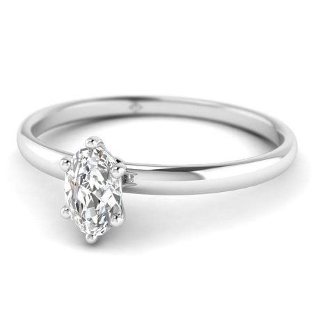 EN Oval Diamond Solitaire Engagement Ring in White Gold
