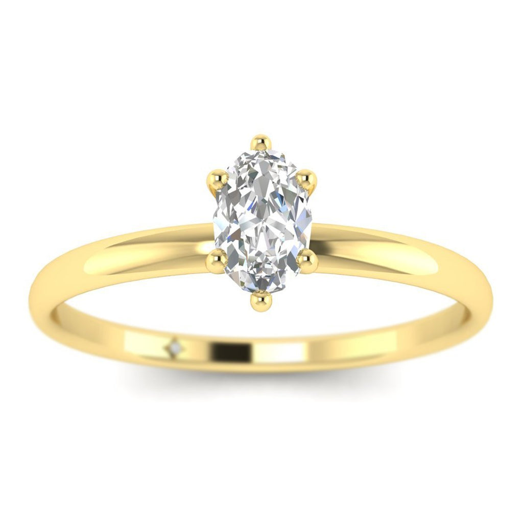 Oval Diamond Solitaire Engagement Ring in Yellow Gold - Custom Made